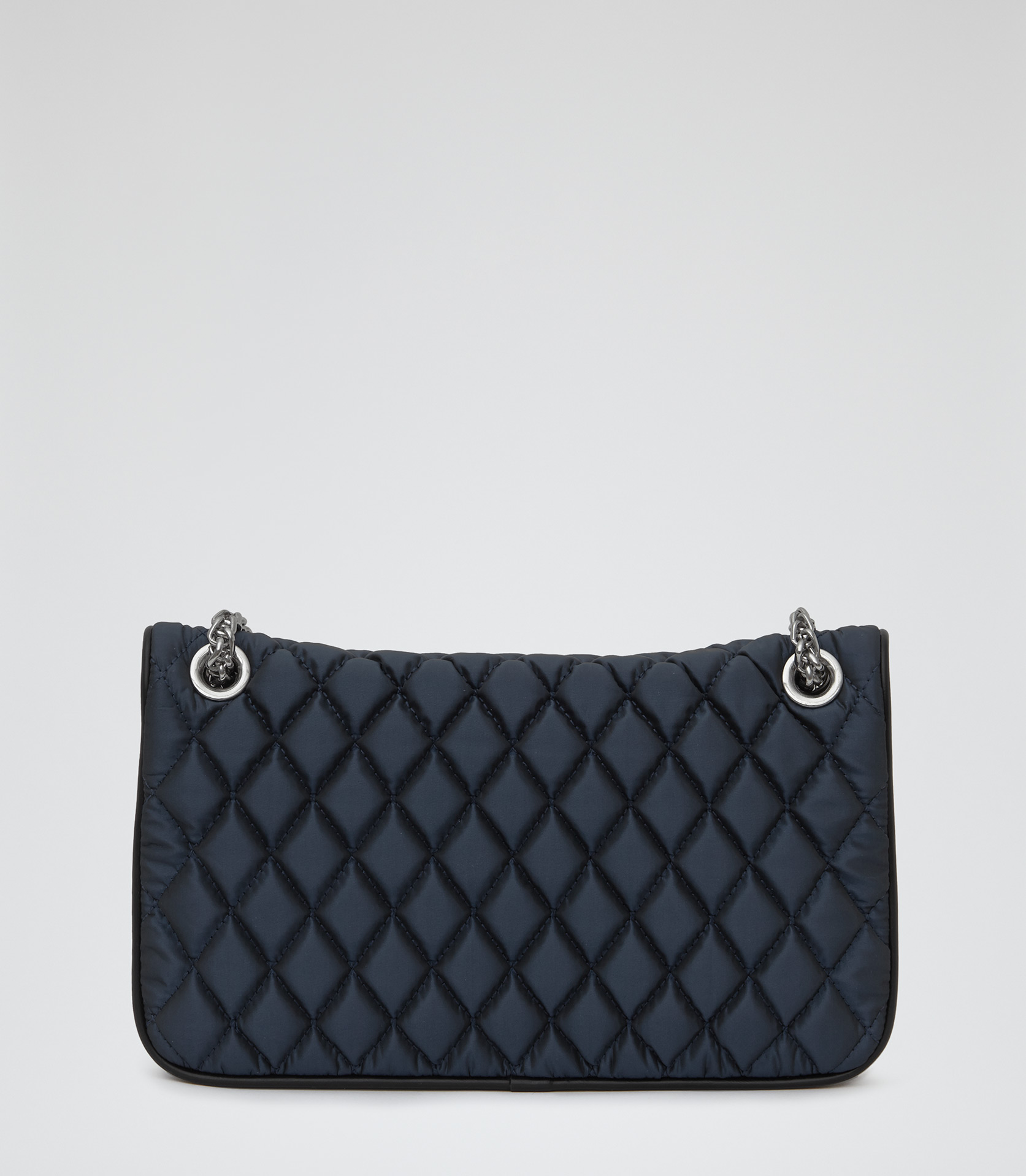 Tallulah Navy Textured Quilt Shoulder Bag - REISS