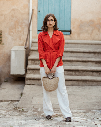 coat red coat pants white pants bag basket bag shoes black shoes
