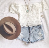 blouse,top,off the shoulder,white lace top,white,shorts