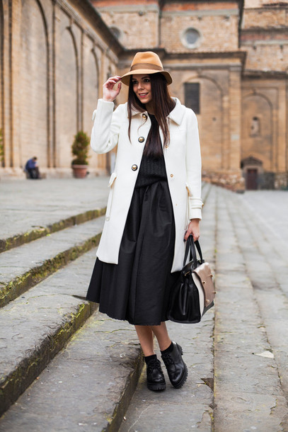 irene closet blogger bag shoes skirt coat hat