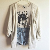 sweater,beige sweater,cardigan,warmth,fall outfits,winter outfits,shirt,white,vogue,jeans,shorts,t-shirt,High waisted shorts,jacket,hipster,boho,grunge,alternative,audrey hepburn,blouse,black and white,tank top,fashion,girly,pretty,stylish,grey t-shirt,black,cardigan short tshirt,beige,everything