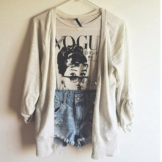 sweater beige sweater cardigan warmth fall outfits winter outfits shirt white vogue jeans shorts t-shirt high waisted shorts jacket hipster boho grunge alternative audrey hepburn blouse black and white tank top fashion girly pretty stylish grey t-shirt black cardigan short tshirt beige everything
