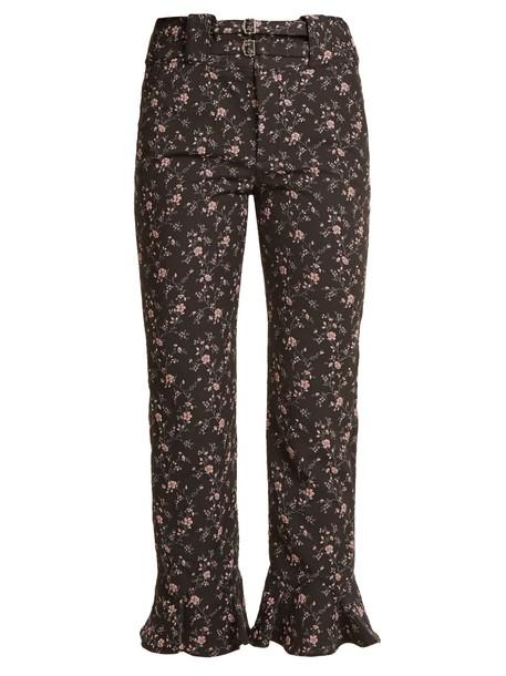 Rebecca Taylor cropped jacquard floral print black pants