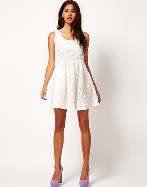 Rare ruffle skater dress with open back at asos
