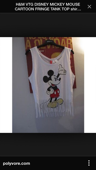 mickey mouse tank top fringe