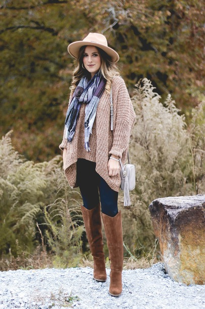thedaintydarling blogger sweater leggings shoes scarf hat fall outfits felt hat boots shoulder bag beige sweater oversized sweater brown boots