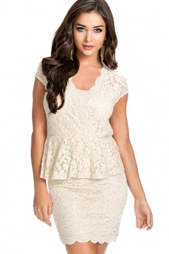 dress sexy dress lace dress ivory dress peplum flawless