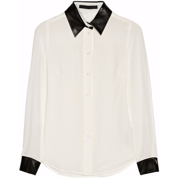 Karl Lagerfeld Vive leather-trimmed silk shirt - Polyvore