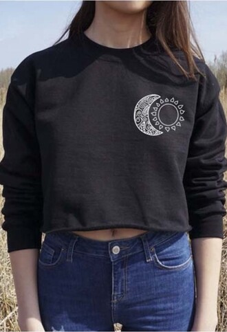 sweater black trendy fashion style summer long sleeves cool beautifulhalo moon crop tops girl girly girly wishlist crop cropped cropped sweater