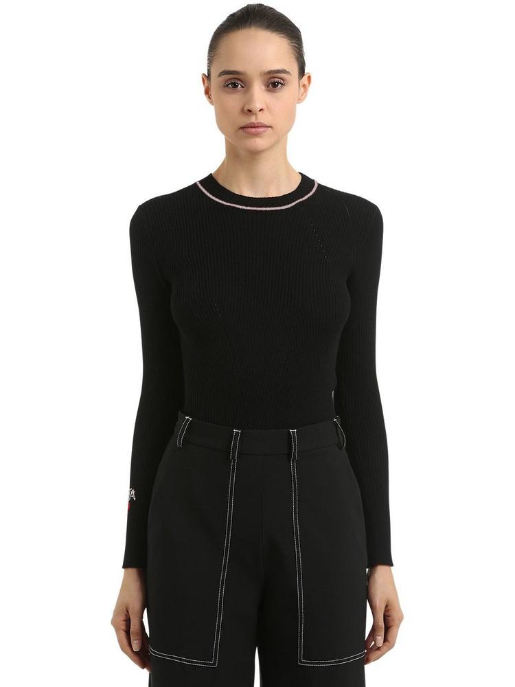 VIVETTA Logo Details Wool Rib Knit Sweater in black