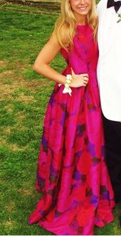 dress,fuschia dress,pink dress,red dress,sleeveless dress,formal dress,prom dress,homecoming dress,floral dress,fit and flare dress