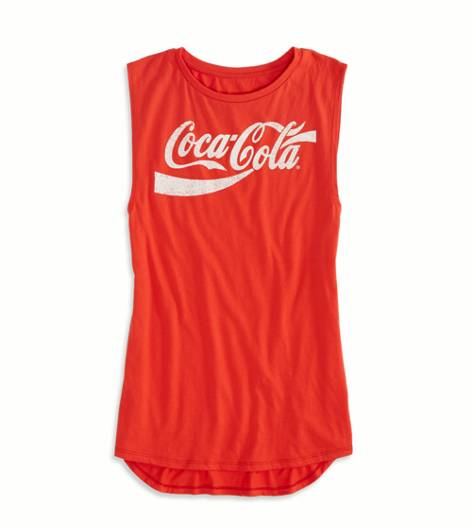 AE Coca-Cola Graphic Muscle Tank, Red | American Eagle Outfitters