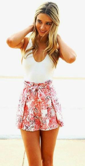 pink shorts vintage skirt floral skirt