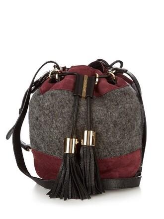cross bag bucket bag leather grey