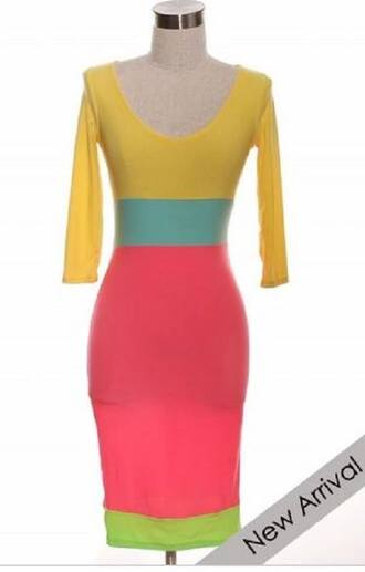 colorblock pink yellow dress neon bodycon dress lime candy