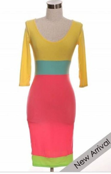 colorblock pink color block yellow neon lime candy dress bodycon dress