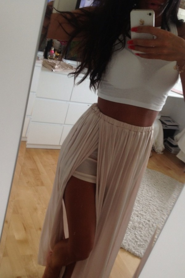 Jennifer Hope - Pleated Slit Maxi Skirt - Nude - Big Drop NYC