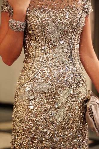 dress gold sequins gold dress sparkly dress prom dress gown short sleeve