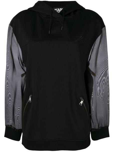 karl lagerfeld hoodie women black silk sweater