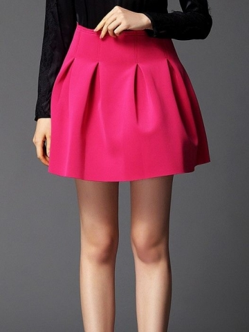 Sweet solid color high waist pleated bubble skirts