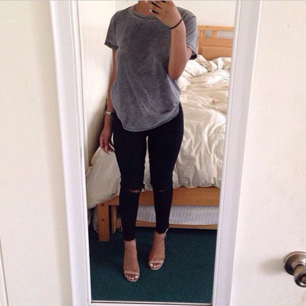 Shoes: black, high heels, grey t-shirt, grey top, black jeans ...
