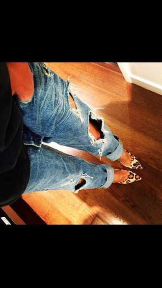 jeans boyfriend jeans clothes shoes pumps leopard print bag