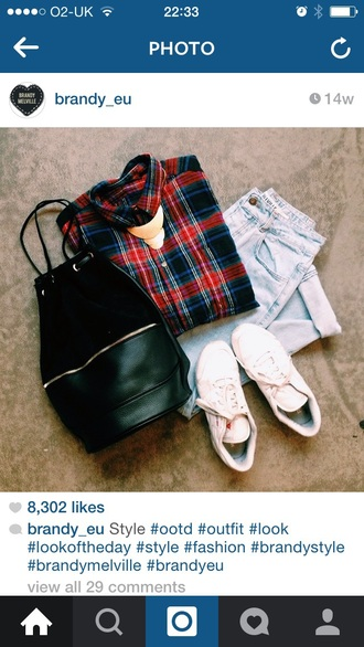 shirt checked fashion clothes shoes white red navy jeans light wash trendy vibes style