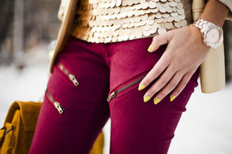 edgy jeans zip pink pink jeans red pants pants jeans red fashion gold zippers colors clothes chic style