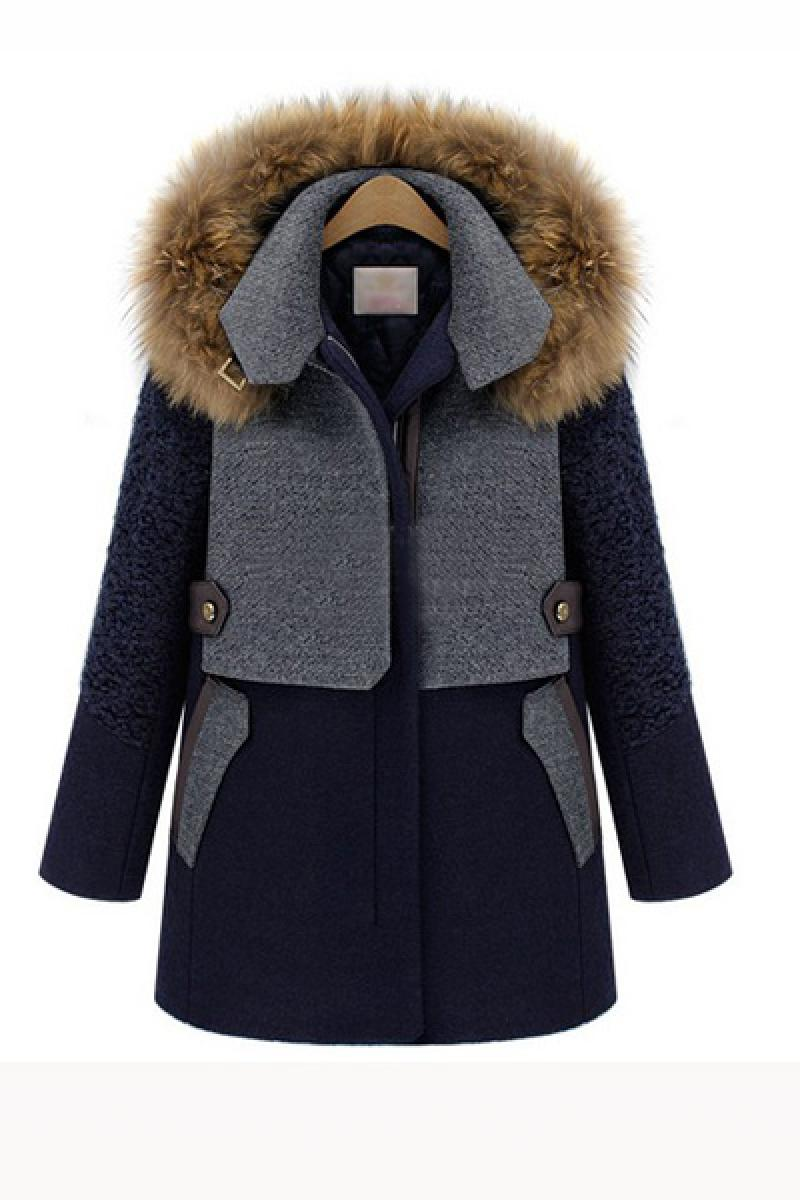 Winter Thickened Warm Long Sections Fur Collar Overcoat,Cheap in Wendybox.com