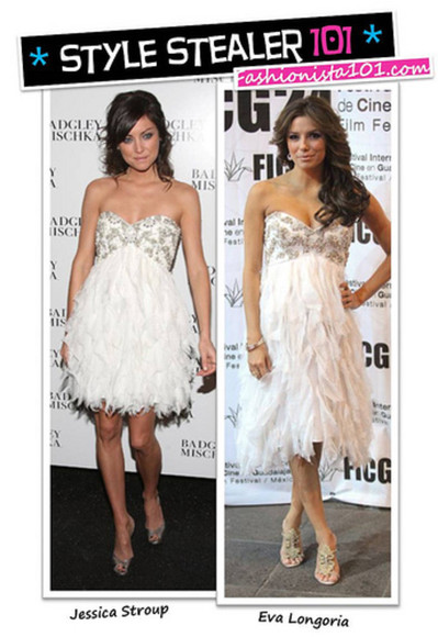 grey dress jessica stroup mini ; white; strass eva longoria white dress