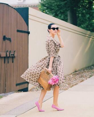 dress tumblr midi dress short sleeve dress bag basket bag pumps mid heel pumps spring outfits sunglasses