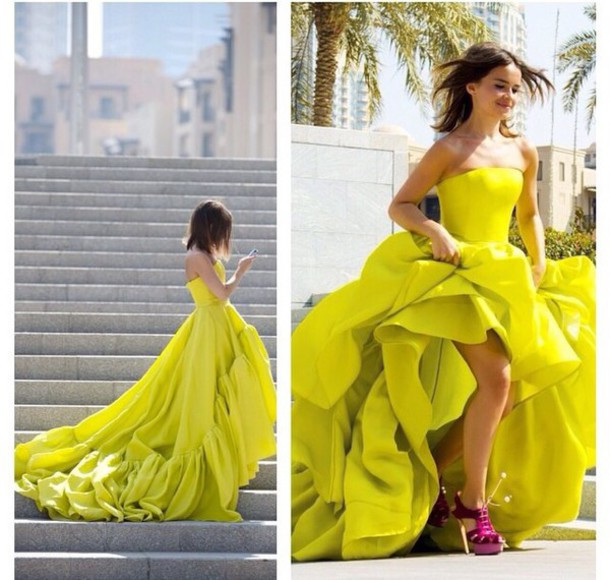dress lime flowing dress long prom dress nylon green dress bright flowing gown princess dress