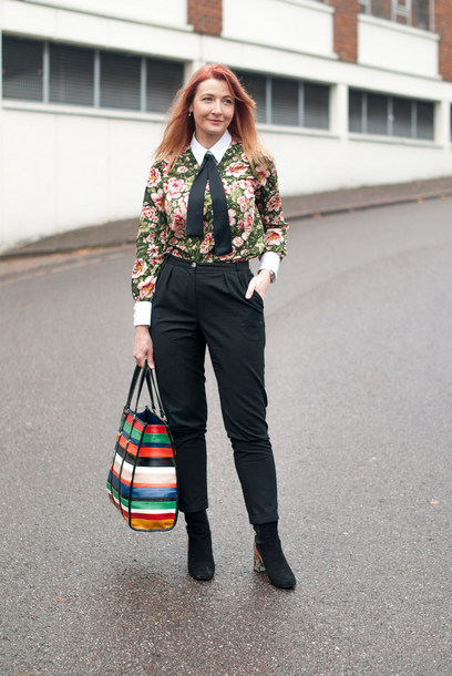 not dressed as lamb - over 40 fashion blog blogger blouse pants shoes bag jewels handbag black pants fall outfits