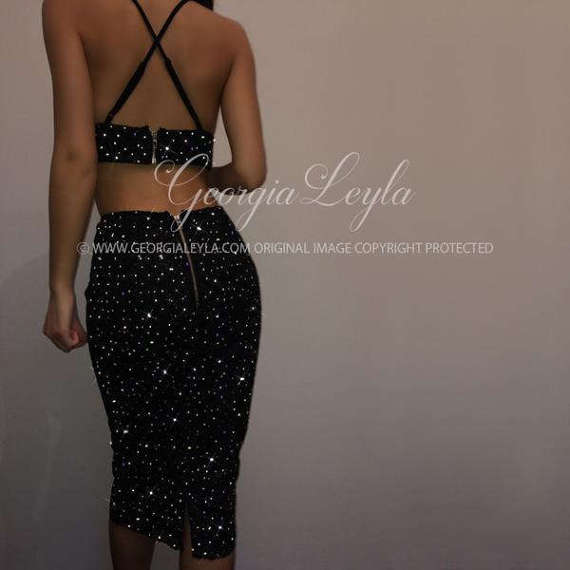 Crystallized Black 2 Piece Set Co ord Crystal Crystals Backless Crop Top Knee Length Skirt Dress Dresses Glitter Sparkle Sparkly Bodycon