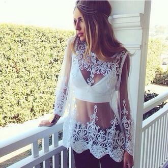 white blouse blouse lace blouse lace shirt mesh mesh shirt see through elgant elegant blouse