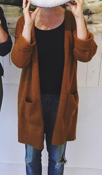 Sweater: rust, brown, cardigan - Wheretoget