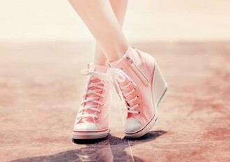 converse vans pink cute lovely pretty barbie girly high heels gorgeous wedge sneakers