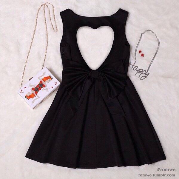 dress heart cut out black