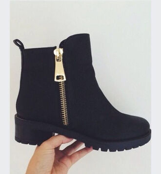 chunky boots black boots boots black shoes zip grunge shoes shoes black winter outfits fall outfits zip-up gold zipper trendy all black everything