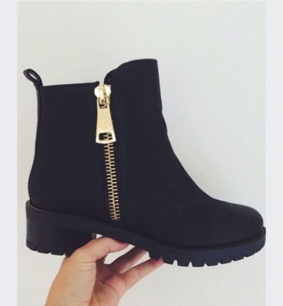 Shoes: chunky boots, black boots, boots, black shoes, zip, grunge ...