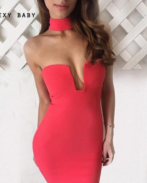 Dress Red Dress Sexy Party Dress Date Outfit Date Dress Tumblr Girl Plunge Dress Plunge ...