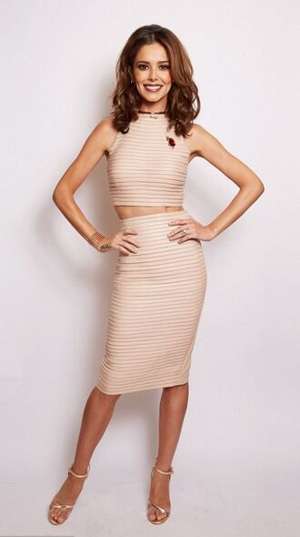 skirt pencil skirt nude cheryl cole sandals two-piece two piece dress set crop tops bodycon
