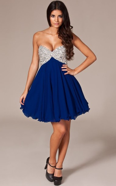 Blue and Silver Short Dresses