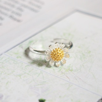 jewels summer summer handcraft daisy flowers floral flower ring knuckle ring ring armor ring engagement ring silver ring sterling silver