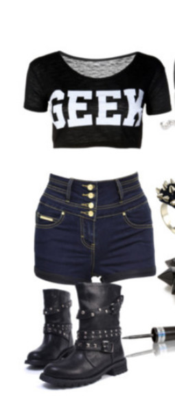 blouse black crop tops geek cute shorts shoes