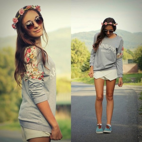 sweater vintage cute 'love flowers floral pink partern girly shirt quote on it jewels