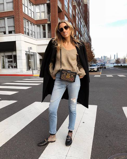 cardigan tumblr black coat knit knitwear knitted sweater denim jeans blue jeans socks shoes bag sunglasses