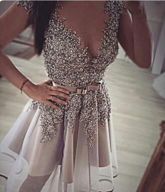 dress grey metallic beaded top embellished homecoming dress short dress beautiful grey dress