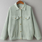 Green drop shoulder corduroy jacket with pockets -shein(sheinside)
