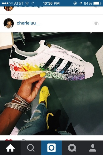 shoes adidas rainbow sneakers black red yellow green blue purple white adidas originals adidas superstars multicolor adidas superstar rainbow paint slatter socks the adidas shoes? shorts nike these are all beautiful colers and they will match with anythin wither